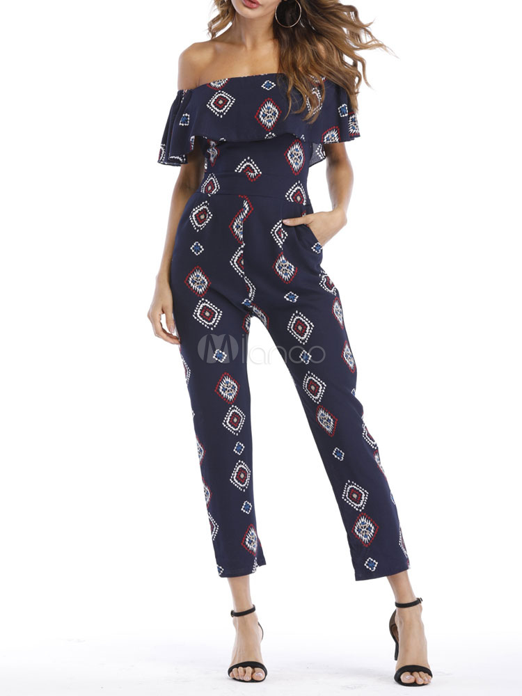 Buy Women Chiffon Jumpsuit Off The Shoulder Printed Deep Blue Long Leg Jumpsuit for $27.89 in Milanoo store