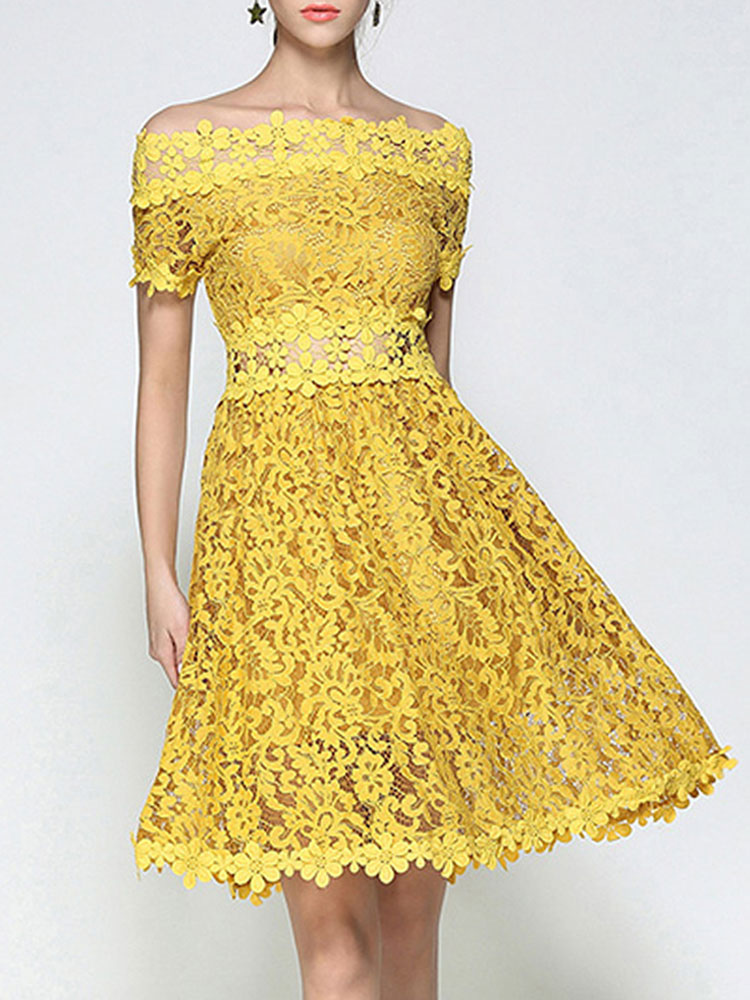 ca6c729a7c31 Women Lace Dress Off The Shoulder Short Sleeve Yellow Midi Dress-No.1 ...