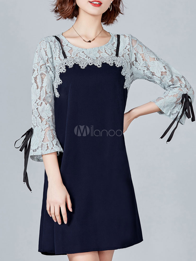 Buy Women Shift Dress Lace Patchwork Fake Two Piece Deep Blue Spring Midi Dress for $26.99 in Milanoo store