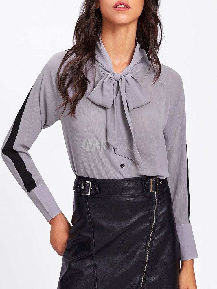 bbcc93f5d1f98 Blusa de chifón gris de manga larga con diseño de camisa de dos cuartos para  mujer ...