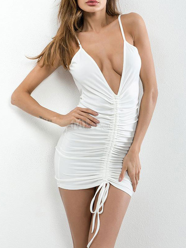 White Bodycon Dress Backless Plunging Straps Drawstring Ruched Sexy Club Dress Cheap clothes, free shipping worldwide