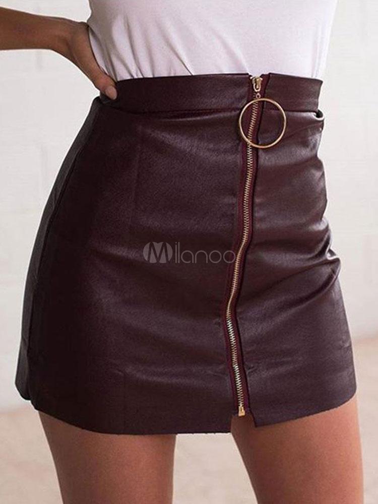Women Mini Skirt Zip Up Grommet Deep Brown PU Leather Skirt