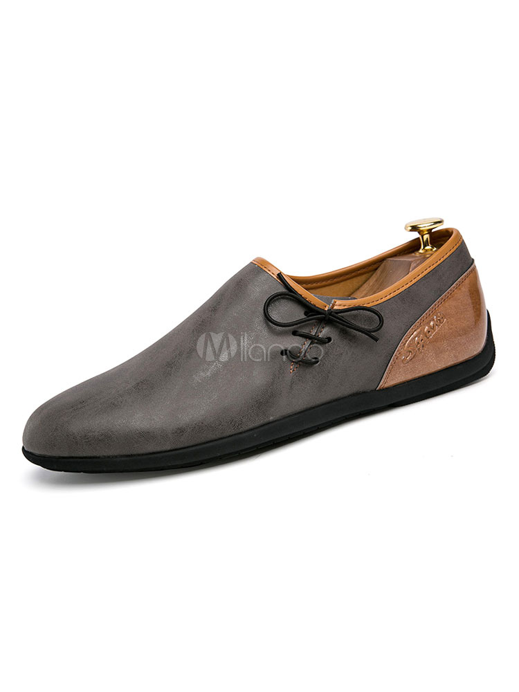 Men Casual Shoes Deep Grey Round Toe Slip On Shoes Flat Shoes