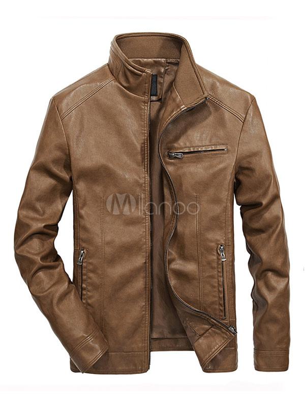 Leather Jacket Men Stand Collar Long Sleeve Leather Coat PU Short Khaki Jacket