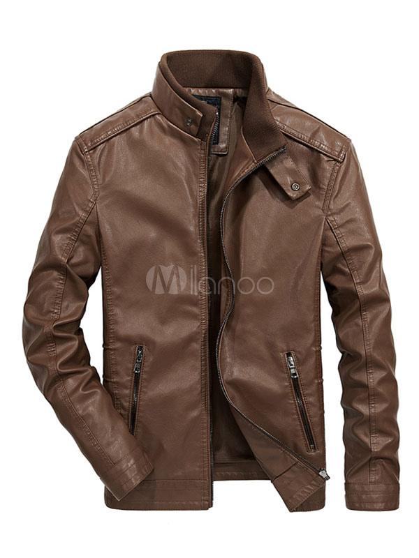 Men Leather Jacket Stand Collar Long Sleeve PU Zipper Metal Buckle Short Casual Jacket