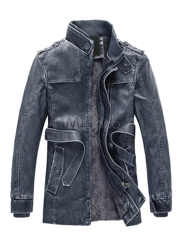 Buy Jacket Leather Men Stand Collar Long Sleeve Leather Coat Zipper Button PU Belted Cool Jacket for $56.69 in Milanoo store