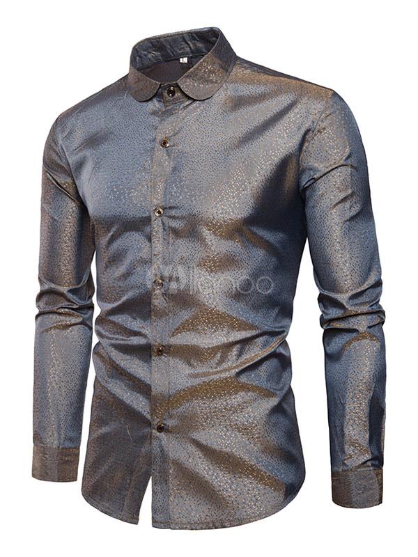 Metallics Shirt Men Turndown Collar Long Sleeve Spring Cotton Casual Shirt