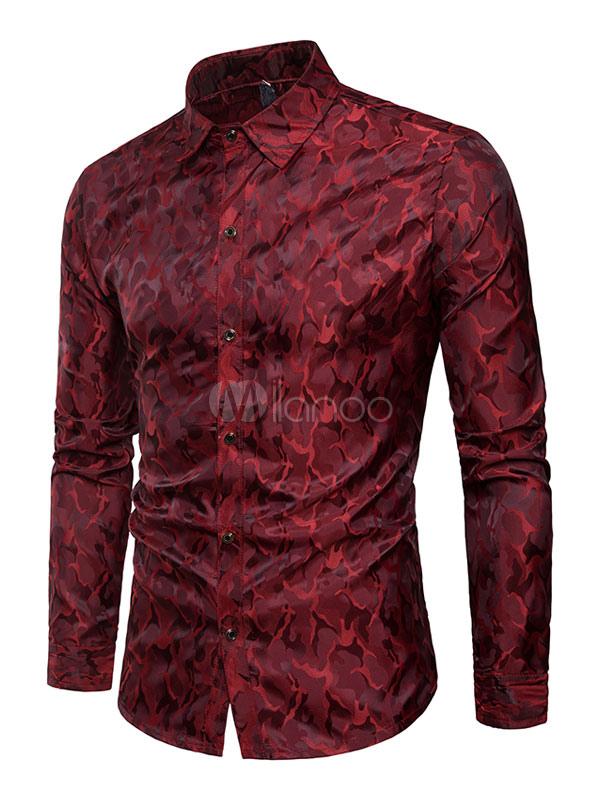 Burgundy Men Shirt Print Turndown Collar Long Sleeve Cotton Men Spring Top