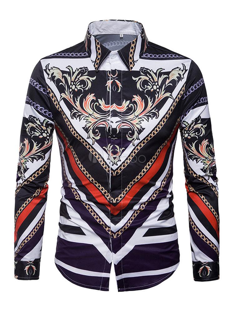 Men Shirt Casual Turndown Collar Long Sleeve Graphic Print Cotton Black Shirt
