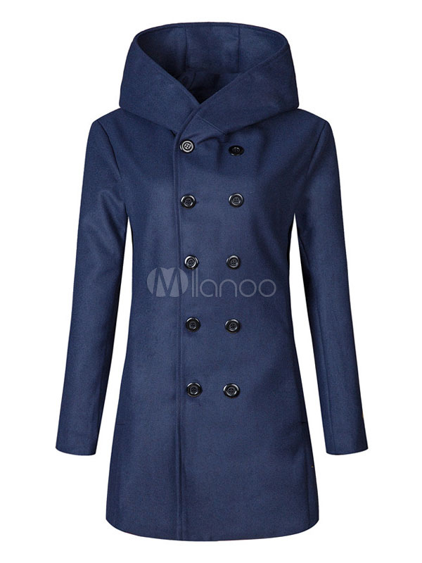 Buy Overcoat Men Casual Hooded Double Breasted Button Up Long Sleeve Wool Peacoat for $32.19 in Milanoo store