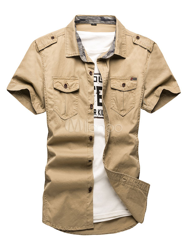 Casual Men Shirt Turndown Collar Short Sleeve Khaki Summer Top Men Cargo Shirt