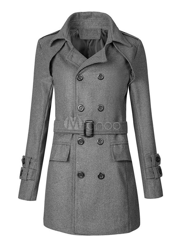 Buy Trench Coat Men Turndown Collar Double Breasted Winter Coat Button Up Grey Wool Overcoat for $36.79 in Milanoo store