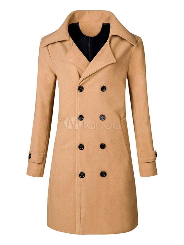 Buy Men Overcoat Khaki Turndown Collar Long Sleeve Wool Coat Double Breasted Camel Coat for $32.19 in Milanoo store