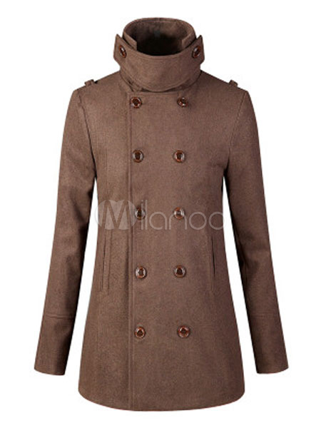 Men Peacoat Wool Stand Collar Long Sleeve Overcoat Double Breasted Button Up Winter Coat
