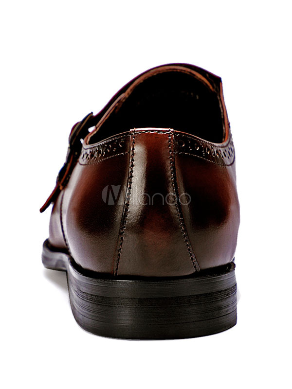 Zapatos de vestir de tacón gordo de puntera redonda de cuero Color liso con botones estilo modernopara hombre Verano 3hqHYWl3Z