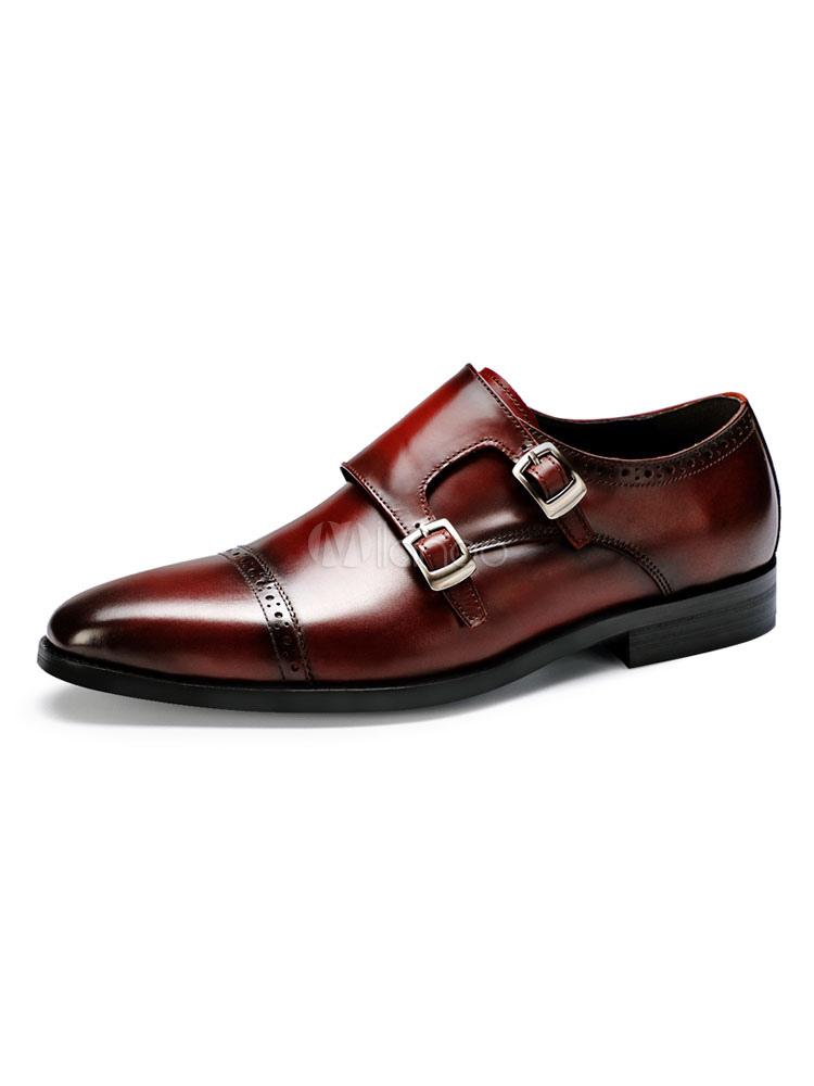 Zapatos de vestir de tacón gordo de puntera redonda de cuero Color liso con botones estilo modernopara hombre Verano Ec0gDJdiH