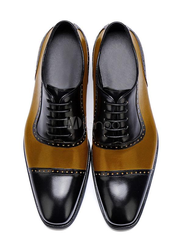 Zapatos de vestir de tacón gordo de puntera cuadrada de cuero marrón de dos tonos estilo modernopara hombre Otoño GFuT3GWHDD