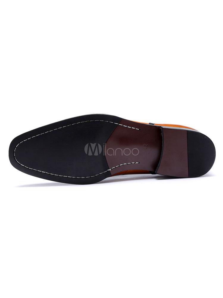 Zapatos de vestir de tacón gordo de puntera cuadrada de cuero marrón de dos tonos estilo modernopara hombre Otoño rhmY8AaOp
