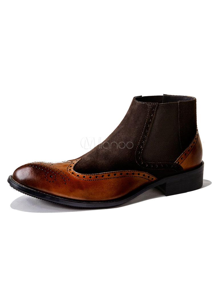 028c97fd7 Homens botas para homem para saída à Noite com desenho de remendos Pele de  Porco botinhas ...