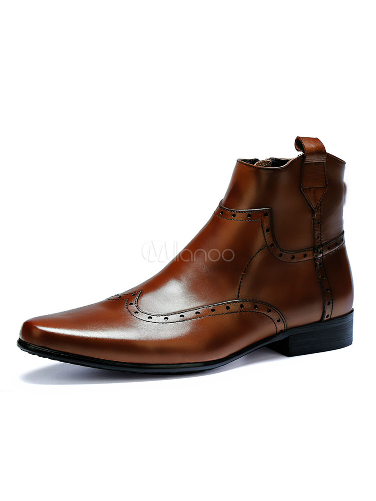 Brown Ankle Boots Men Shoes Cowhide Round Toe Slip On Booties