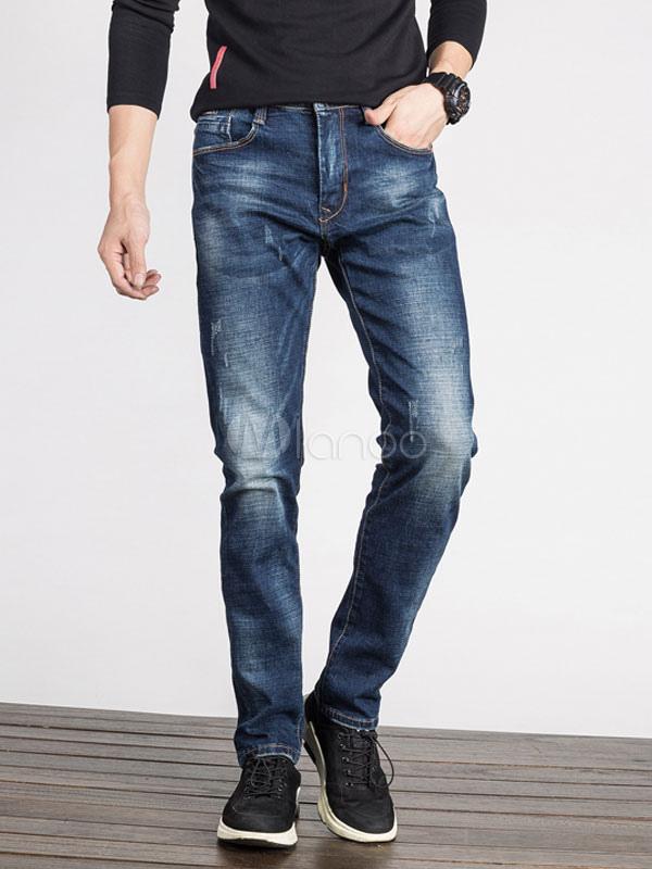 Buy Straight Leg Pant Long Denim Pant Distressed Men Blue Jean for $41.39 in Milanoo store