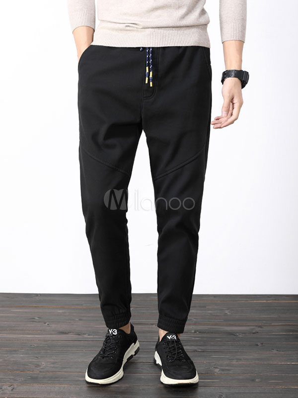 Buy Men Casual Pant Drawstring Harem Style Black Cotton Pant for $36.79 in Milanoo store
