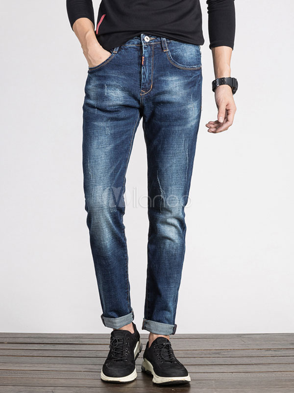 Buy Men Cuffed Jeans Distressed Blue Long Denim Straight Leg Pant for $41.39 in Milanoo store