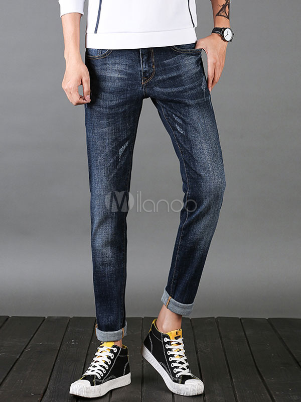 Buy Cuffed Jeans Blue Distressed Straight Leg Denim Jean For Men for $41.39 in Milanoo store