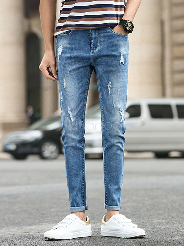 Men Jeans Ripped Destroyed Blue Denim Straight Leg Pant