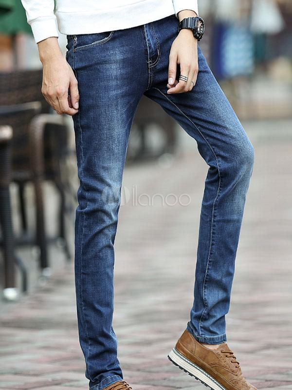 Blue Jean Men Applique Distressed Straight Leg Pant Denim