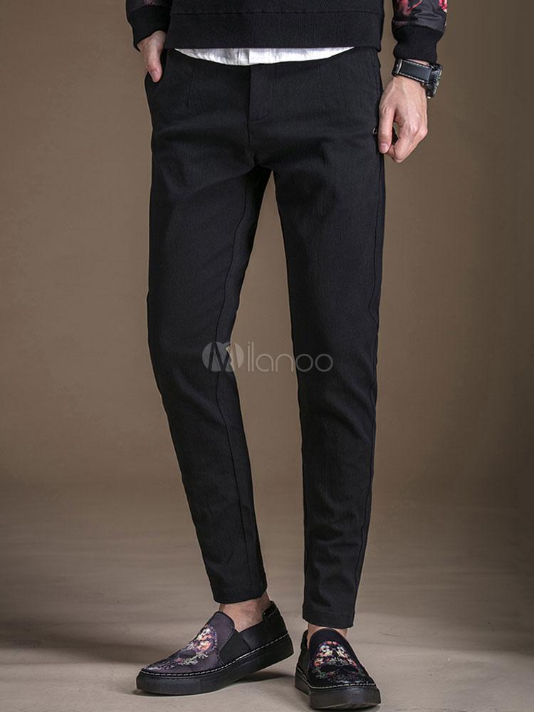 Cotton Pant Men Straight Leg Black Casual Pants