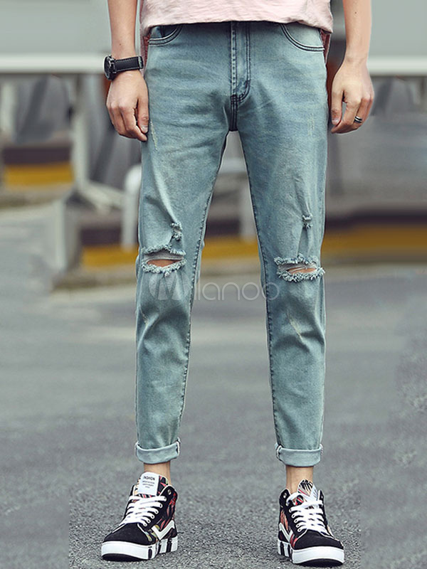 Blue Denim Jeans Straight Leg Ripped Jeans For Men