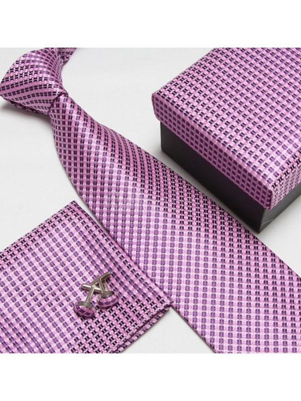 Men Dress Tie Plaid Neck Tie With Cravat And Cuff Link 3 Piece Men Dress Accessory
