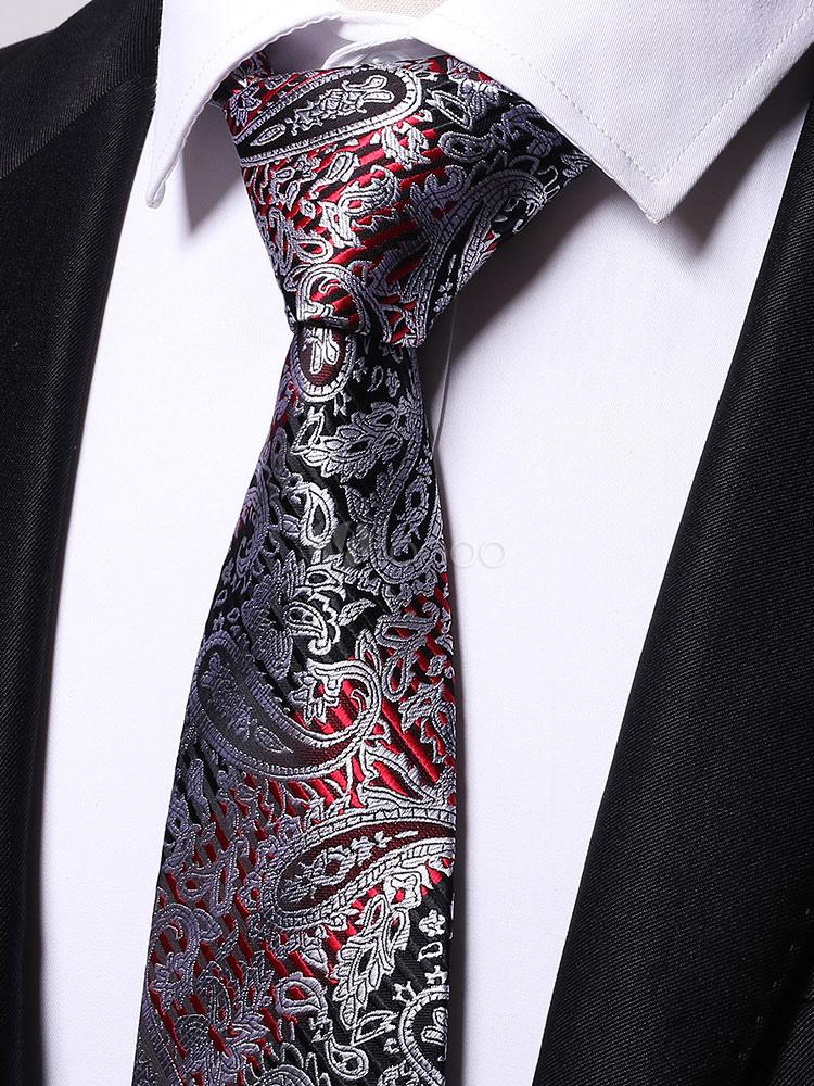 Buy Black Men Tie Rayon Paisley Jacquard Neck Tie for $8.27 in Milanoo store