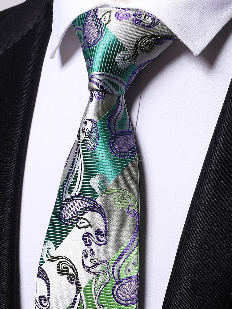 Men Neck Tie Green Jacquard Casual Ties