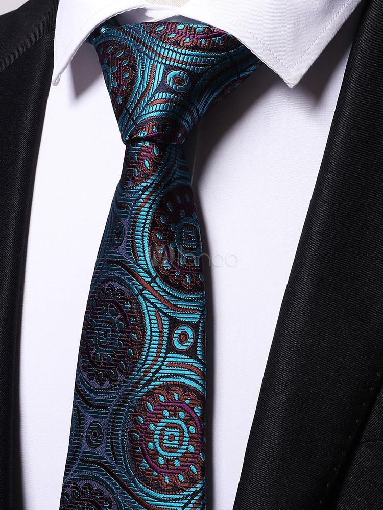 Men Casual Business Ties Blue Green Printed Neck Ties