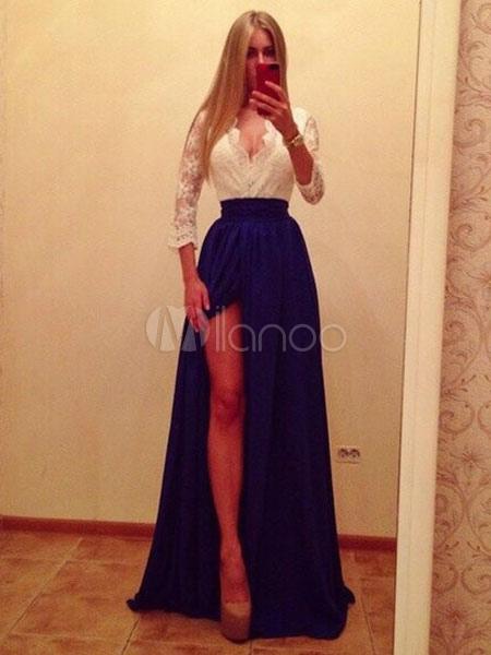 Lace Maxi Dress Women Plunging Split Chiffon Two Tone Half Sleeve Long Party Dress