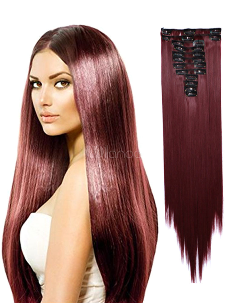 Women Hair Extension Burgundy Long Straight Hair Slice