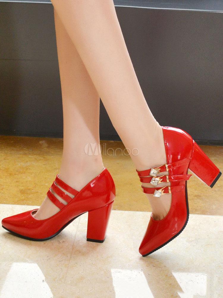 Zapatos de tacón medio estilo moderno para pasar por la noche de tacón gordo Charol PU de puntera puntiaguada tIPY1NO