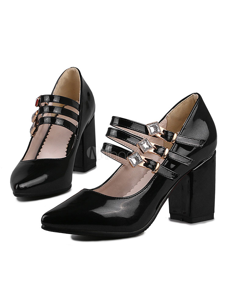 Zapatos de tacón medio estilo moderno para pasar por la noche de tacón gordo de PU de puntera puntiaguada wAZwwpG