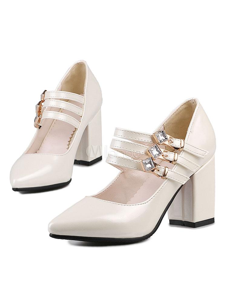 Zapatos de tacón medio estilo moderno para pasar por la noche de tacón gordo Charol PU de puntera puntiaguada yy7Xfk