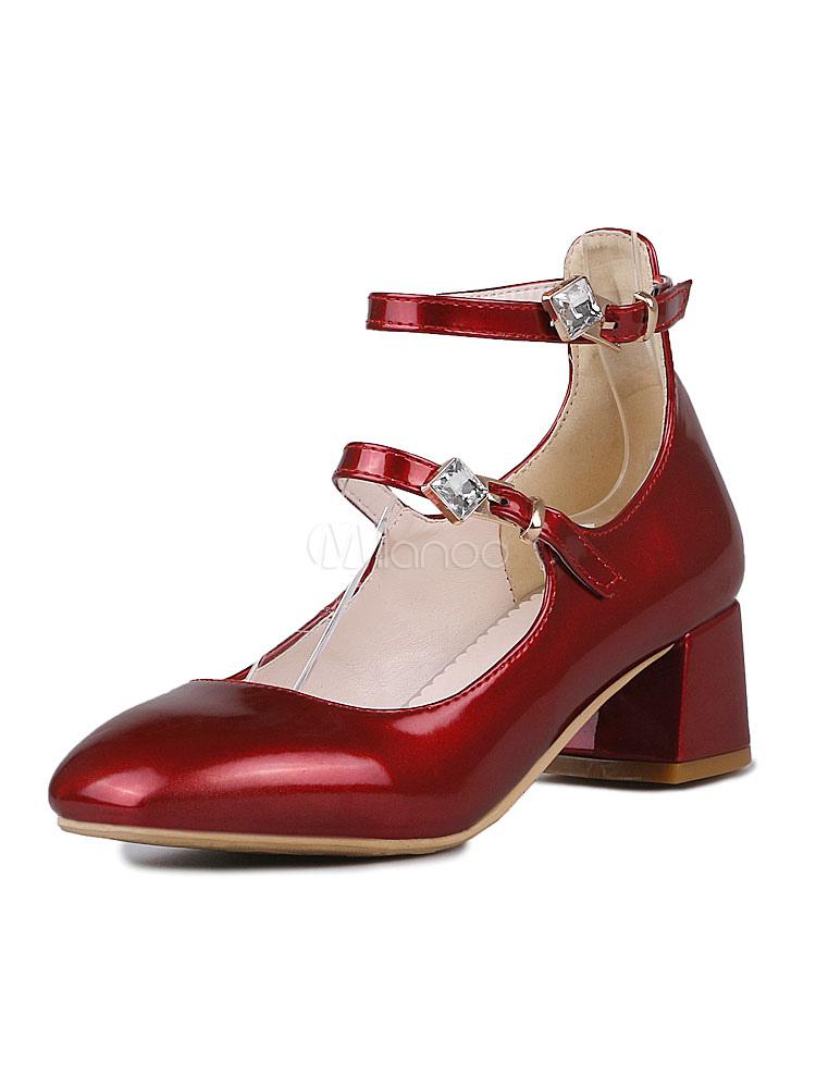 Zapatos de tacón medio de puntera cuadrada de tacón de stiletto estilo modernopara pasar por la noche Charol PU U1ek6f