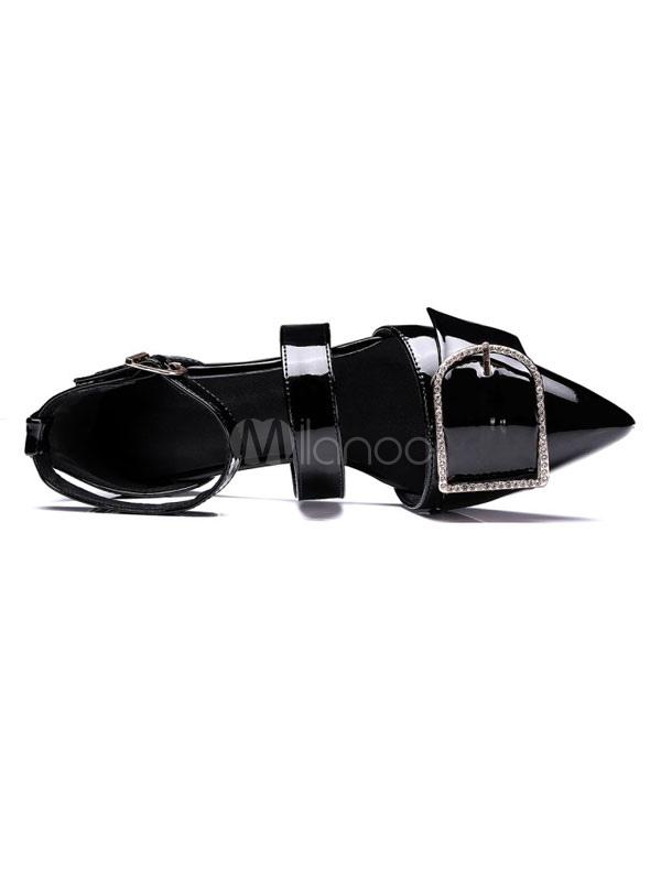 Zapatos planos Planos con cinta en la tobillera de puntera puntiaguada para mujer estilo moderno de patente estilo street wear heUxajt