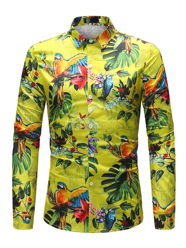 Yellow Shirt Spring Turndown Collar Animal Print Long Sleeve Men Shirt