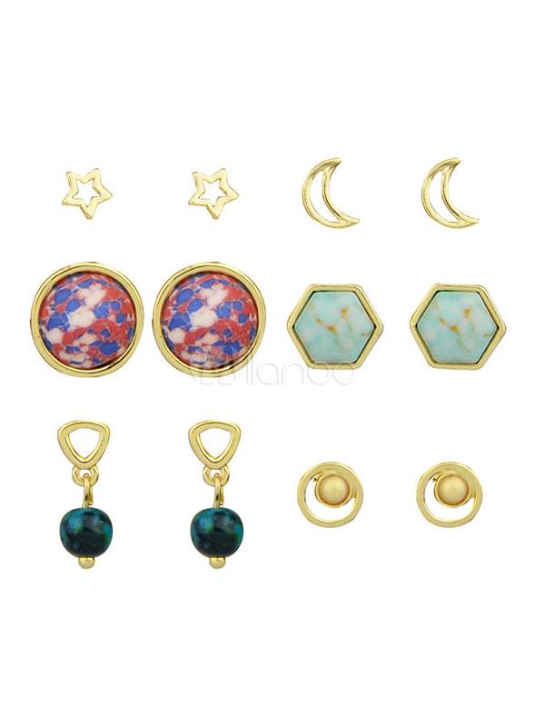 Buy Stud Earrings Set Star Moon Round Hexagon Studs Drop Earrings Jewelry For Women for $2.99 in Milanoo store