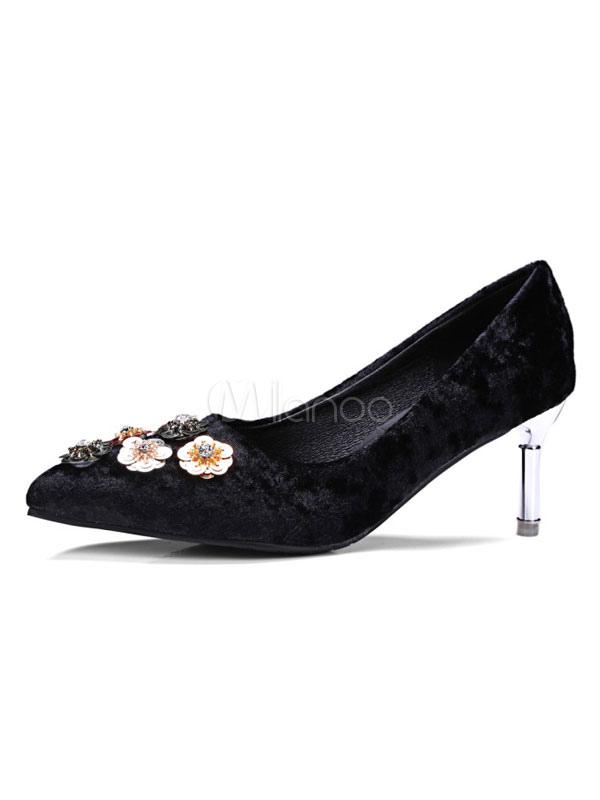Zapatos de tacón medio de puntera puntiaguada de tacón de kitten estilo modernoestilo street wear de pana GczRi