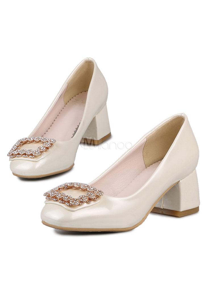 Zapatos de tacón medio estilo moderno para fiesta de tacón gordo de PU de puntera cuadrada ZIkSupfDj