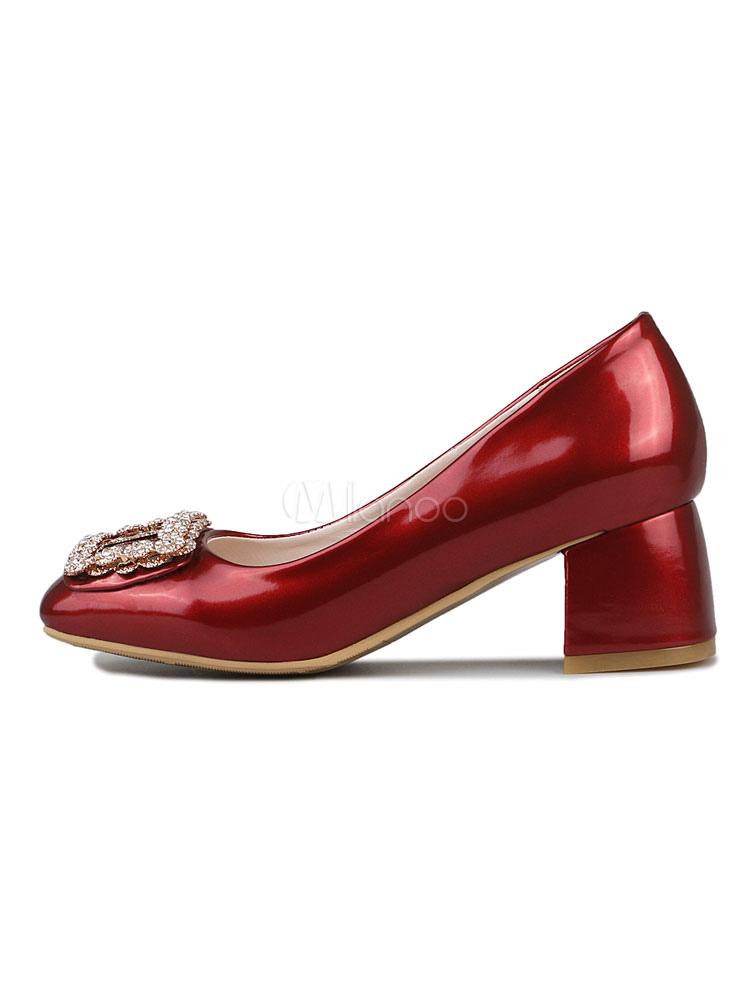Zapatos de tacón medio estilo moderno para fiesta de tacón gordo de PU de puntera cuadrada 0F0kWY