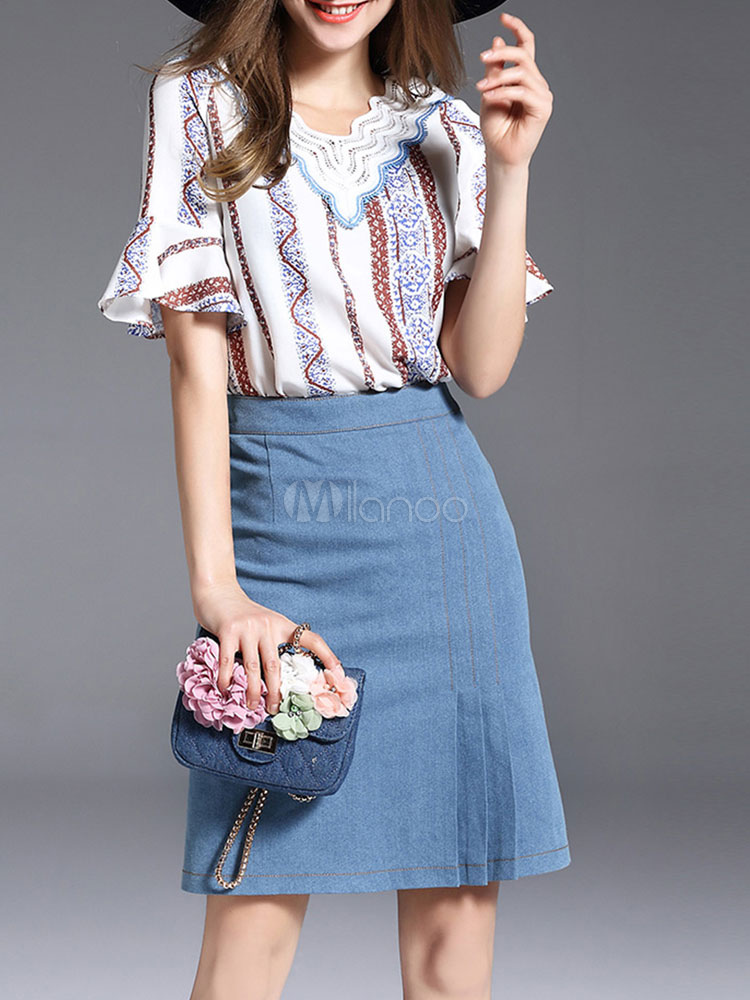 Buy Women Skirt Set Lace V Neck Bell Sleeve Printed Spring Top With Blue Skirt for $52.24 in Milanoo store