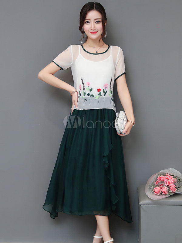 Buy Green Skater Dress Round Neck Short Sleeve Floral Embroidered Maxi Dress Women Dress In 2 Piece for $42.49 in Milanoo store